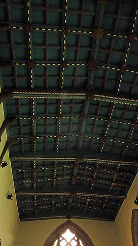 Wood ceiling of the church in Ruthin, Wales
