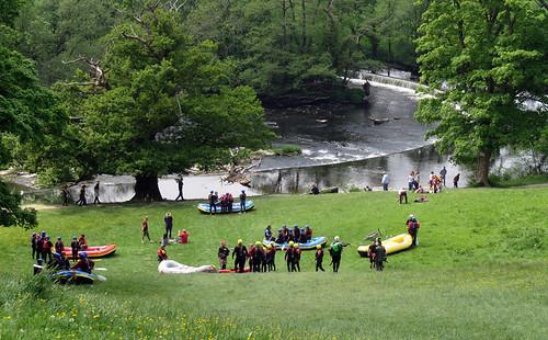 Rafters heading down to Horseshoe Falls in Llangollen, Wales