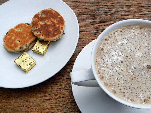 Welsh cakes and hot chocolate in Ruthin, Wales