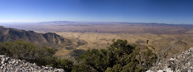 West Mountain Peak, Utah, view west towards Beaver dam and Nevada (view in full mangification)