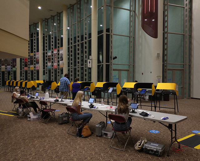 Inside the Lobby of a Walk-In Voting Center