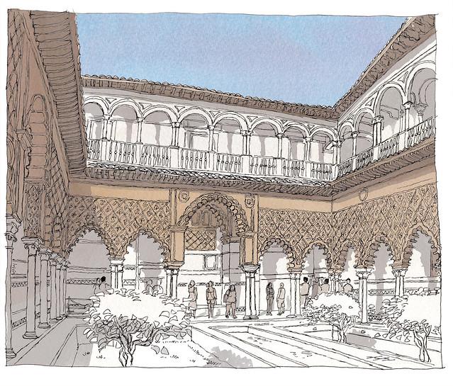 Spain, Andalusia, Sevilla, Real Alcazar,  Patio de las Doncellas