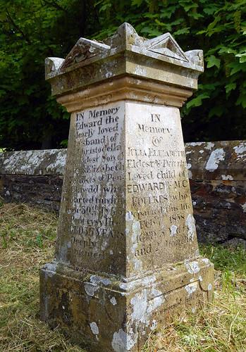 Tombstone in front of the hidden church in Llangollen, Wales