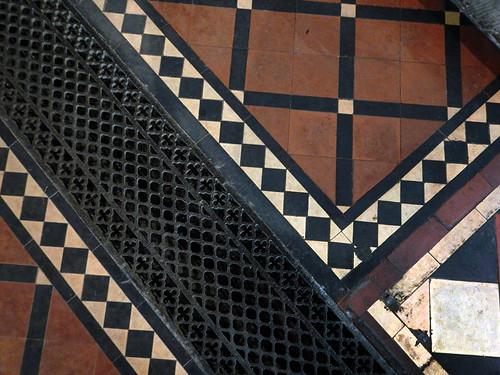 tiled floor in the hidden church in Llangollen, Wales
