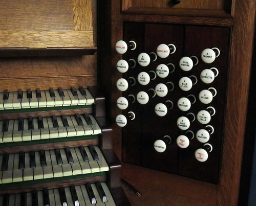 Buttons and keys of the organ of the church in Ruthin, Wales