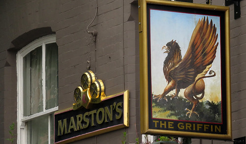 Pub sign for The Griffin in Mold, Wales