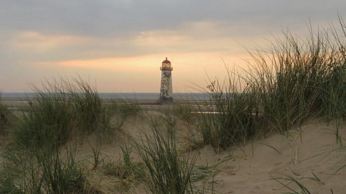Lighthouse at the Gronant Dunes in northern Wales