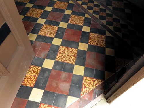 tiled floor of the church in Mold, Wales