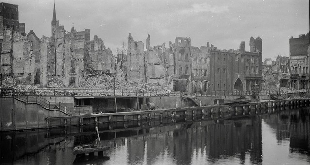 War damaged homes , buildings in Gdańsk , Poland in 1946 , Scanned negative 6 x 9 120 black & white film , scanned by Helen from her dads negatives , dad's travel to Poland after the war to help deliver horses from Canada to Poland in 1946