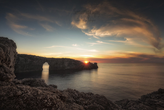 Bridge rock sunset
