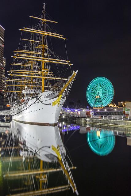 Nippon Maru Vessel and Cosmo World Night Reflections