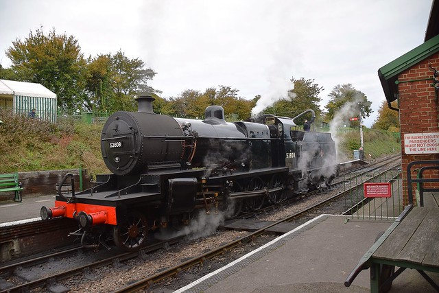 S&D heavyweight 7F Locomotive No.53808 takes water at Ropley at the end of the day. Mid Hants Railway Autumn Steam Gala. 18 10 2020