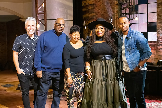 HENDERSONVILLE, TN - SEPTEMBER 16:  Tasha Cobbs Leonard w/2020 Dove Production Team  during the 2020 Dove Awards at TBN Studios on September 16, 2020 in Hendersonville, Tennessee.  (Photo by Don Claussen/Trap The Light Photography for Dove Awards)