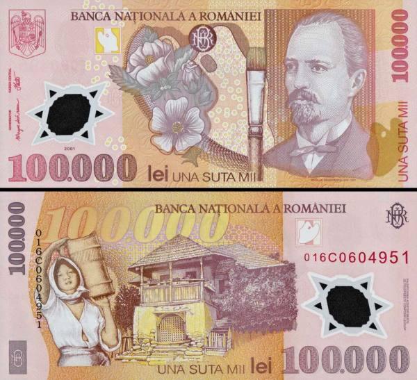 100 000 Lei Rumunsko 2001-3, polymer P114a