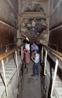 Starting to climb the Grand Gallery, inside the Great Pyramid 1984