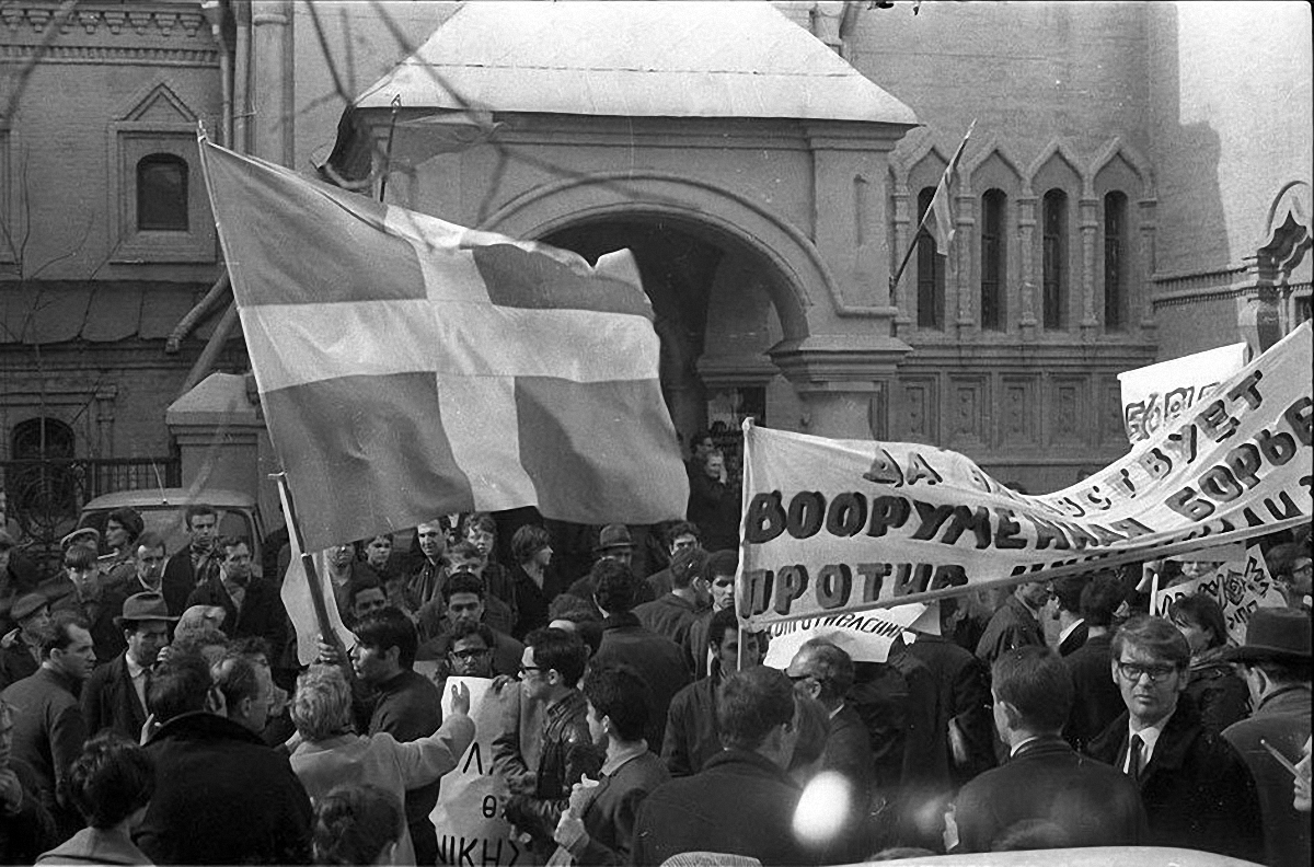 1967. Демонстрация протеста против путча черных полковников