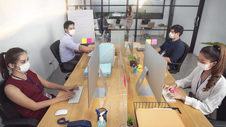 office worker are working and wear mask | by I love landscape