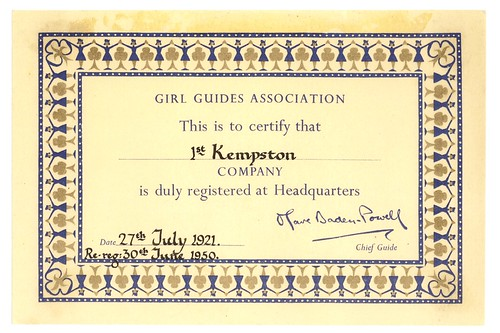 1st Kempston Guide company: re-registration certificate, 1950