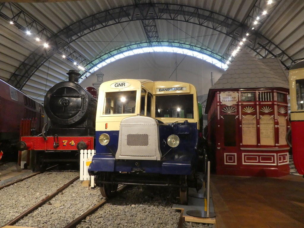 Trains on display at the Ulster Transport Museum