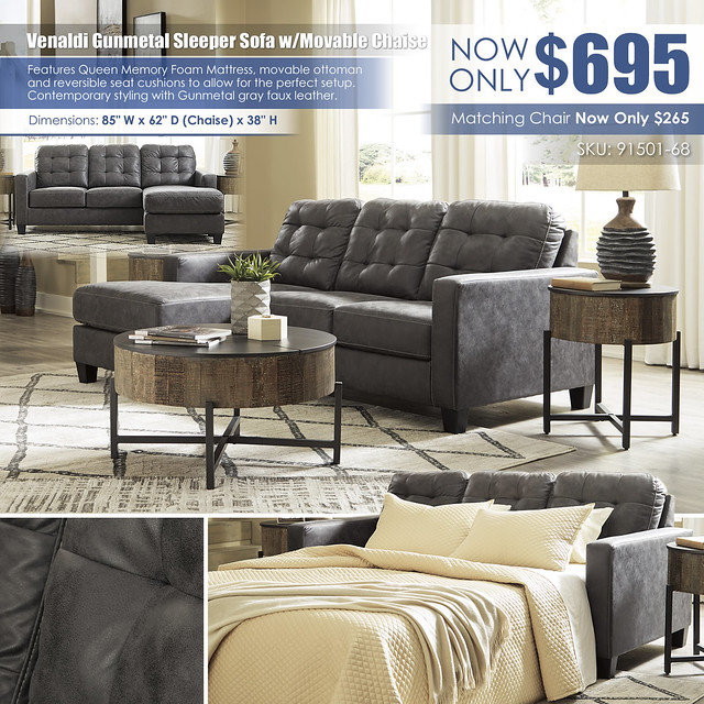 Venaldi Gunmetal Queen Sleeper Sofa with Movable Chaise_91501-68_Layout