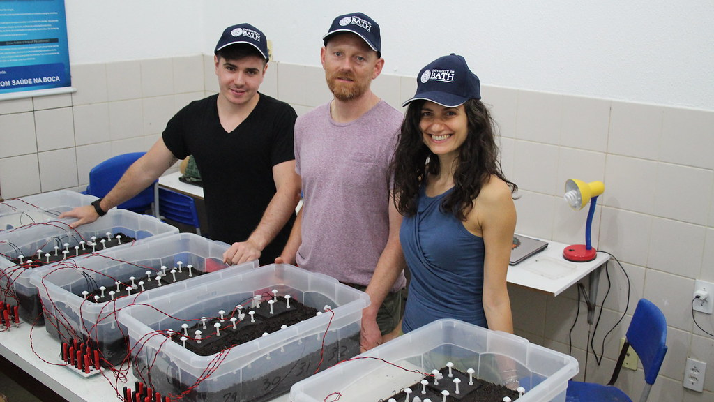 Bath researchers with Soil Microbial Fuel Cells in Brazil