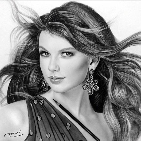 Portrait Pencil Drawing Taylor Swift