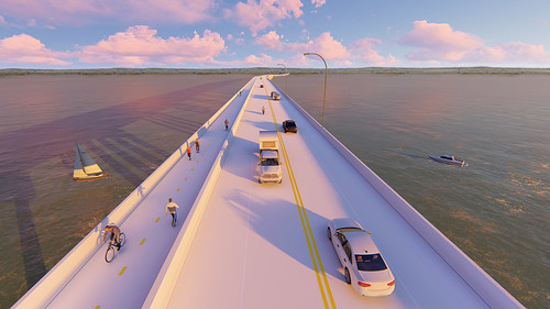 Close-up Rendering of the Hwy 34 Car and Pedestrian Bridge