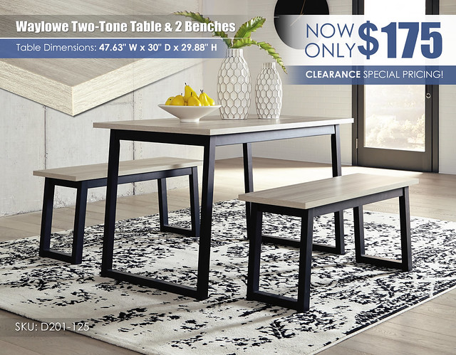 Waylowe Two-Tone Table & 2 Benches_Update_D201-125