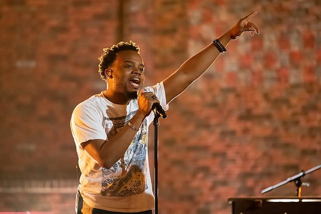 HENDERSONVILLE, TN - SEPTEMBER 14:  Travis Greene rehearses onstage during the 2020 Dove Awards at TBN Studios on September 14, 2020 in Hendersonville, Tennessee.  (Photo by Don Claussen/Trap The Light Photography for Dove Awards)