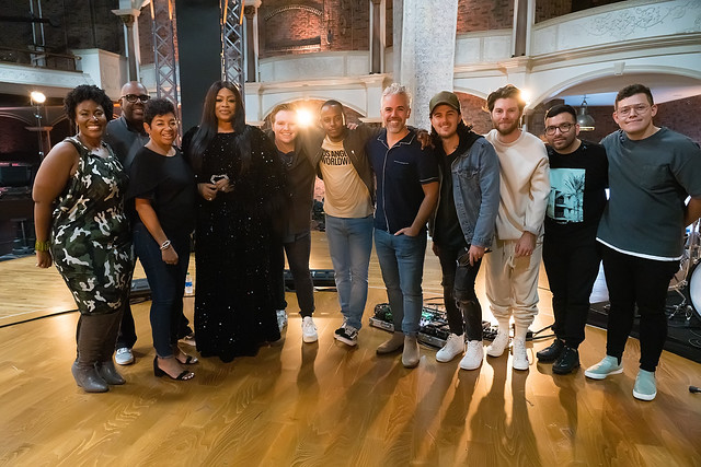 HENDERSONVILLE, TN - SEPTEMBER 17:  Leeland, Mandisa & Sinach w/2020 Dove Awards Production Team during the 2020 Dove Awards at TBN Studios on September 17, 2020 in Hendersonville, Tennessee.  (Photo by Don Claussen/Trap The Light Photography for Dove Awa