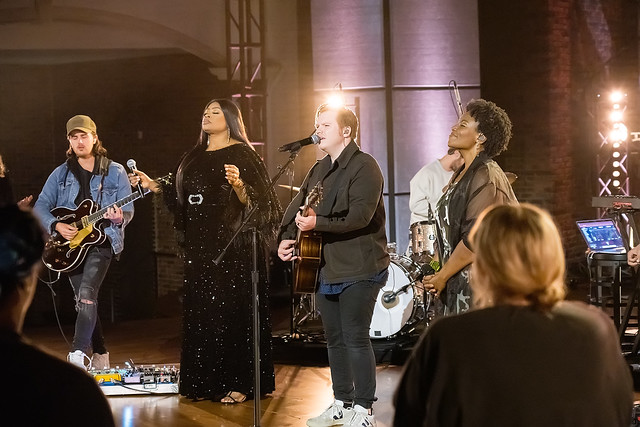 HENDERSONVILLE, TN - SEPTEMBER 17:  Leeland, Mandisa, Sinach & Maverick City Music perform onstage during the 2020 Dove Awards at TBN Studios on September 17, 2020 in Hendersonville, Tennessee.  (Photo by Don Claussen/Trap The Light Photography for Dove