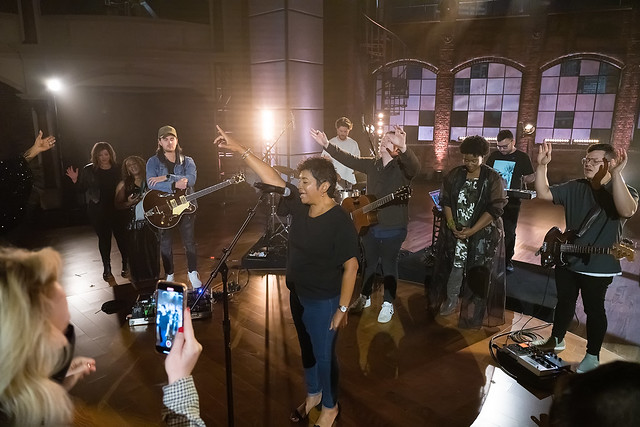 HENDERSONVILLE, TN - SEPTEMBER 17:  GMA President Jackie Patillo prays over Leeland, Mandisa, Sinach & Mavrick City Music onstage during the 2020 Dove Awards at TBN Studios on September 17, 2020 in Hendersonville, Tennessee.  (Photo by Don Claussen/Trap T