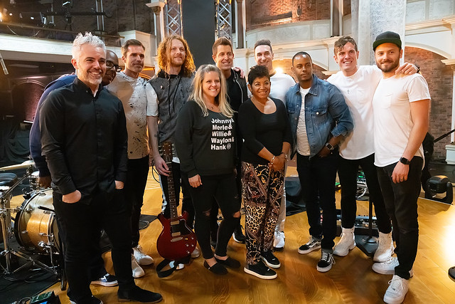 HENDERSONVILLE, TN - SEPTEMBER 16:  Jeremy Camp & Band w/2020 Dove Awards Production Team during the 2020 Dove Awards at TBN Studios on September 16, 2020 in Hendersonville, Tennessee.  (Photo by Don Claussen/Trap The Light Photography for Dove Awards)