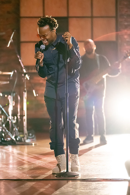 HENDERSONVILLE, TN - SEPTEMBER 14:  Travis Greene performs onstage during the 2020 Dove Awards at TBN Studios on September 14, 2020 in Hendersonville, Tennessee.  (Photo by Don Claussen/Trap The Light Photography for Dove Awards)