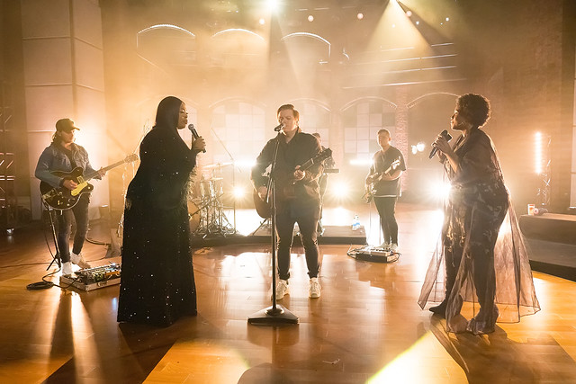 HENDERSONVILLE, TN - SEPTEMBER 17:  Leeland, Mandisa & Sinach perform onstage during the 2020 Dove Awards at TBN Studios on September 17, 2020 in Hendersonville, Tennessee.  (Photo by Don Claussen/Trap The Light Photography for Dove Awards)