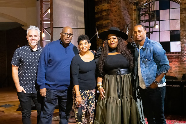 HENDERSONVILLE, TN - SEPTEMBER 16:  Tasha Cobbs Leonard w/2020 Dove Awards Production Team during the 2020 Dove Awards at TBN Studios on September 16, 2020 in Hendersonville, Tennessee.  (Photo by Don Claussen/Trap The Light Photography for Dove Awards)