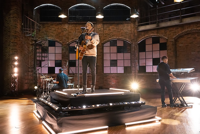 HENDERSONVILLE, TN - SEPTEMBER 16:  Jonathan McReynolds performs onstage during the 2020 Dove Awards at TBN Studios on September 16, 2020 in Hendersonville, Tennessee.  (Photo by Don Claussen/Trap The Light Photography for Dove Awards)