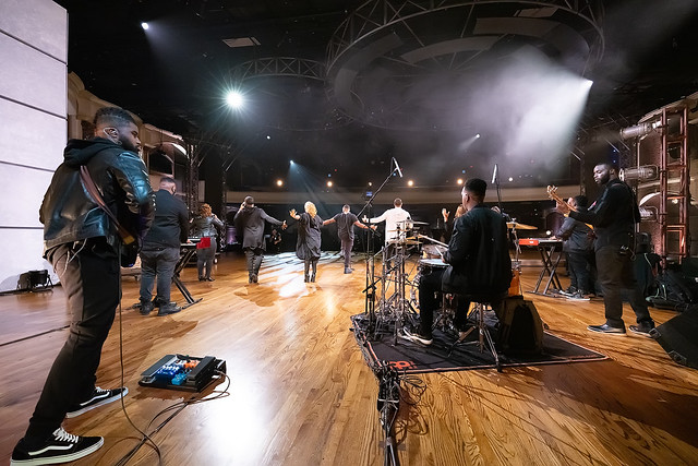 HENDERSONVILLE, TN - SEPTEMBER 15:  Pastor Mike Jr. rehearses onstage during the 2020 Dove Awards at TBN Studios on September 15, 2020 in Hendersonville, Tennessee.  (Photo by Don Claussen/Trap The Light Photography for Dove Awards)