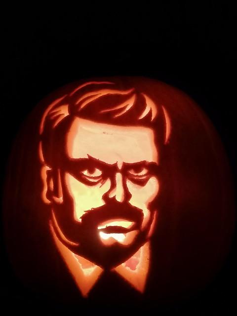 Ron Swanson pumpkin