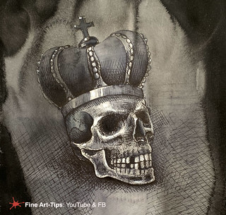 HOW TO DRAW A CROWNED SKULL, WITH INK - Halloween | by fineart-tips