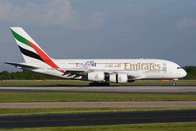 A6-EEB Airbus A380-861 EGCC 23-05-15