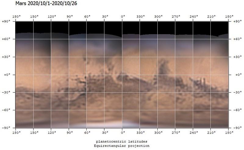 火星地図 (2020/10/1-2020/10/26) (0º中心)