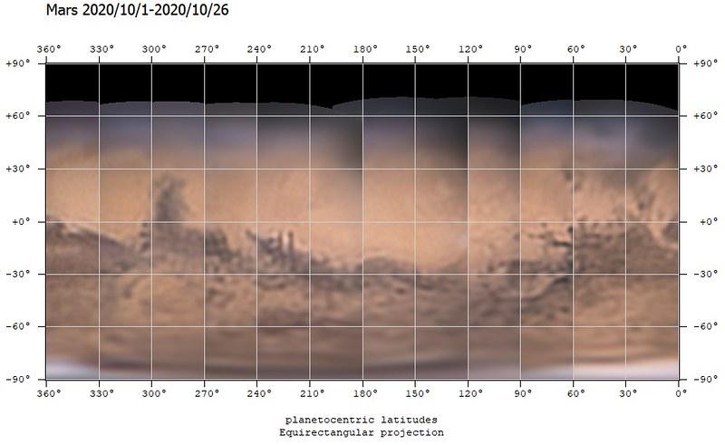 火星地図 (2020/10/1-2020/10/26) (180º中心)