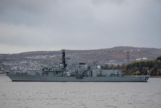 HMS Kent, F78, leaves HMNB Clyde