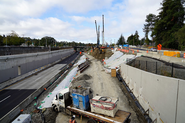 Progress on the Montlake lid over SR 520 - 10/14/2020