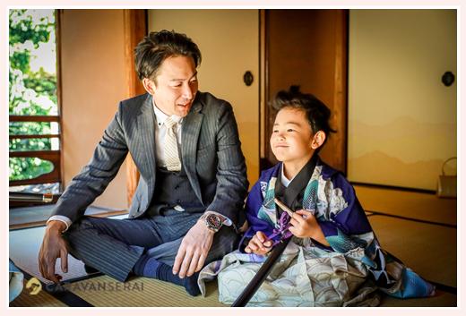 七五三の前撮り パパと男の子 和室