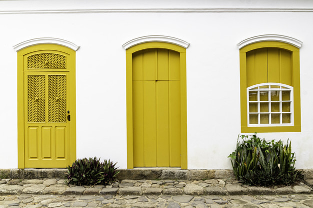 Doors and Windows at the center in Paraty, Rio de Janeiro, Brazil. Paraty is a preserved Portuguese colonial and Brazilian Imperial municipality