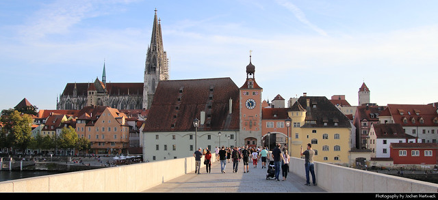 Panoramic view from Steinerne Brücke towards the Old Town, Regensburg, Germany
