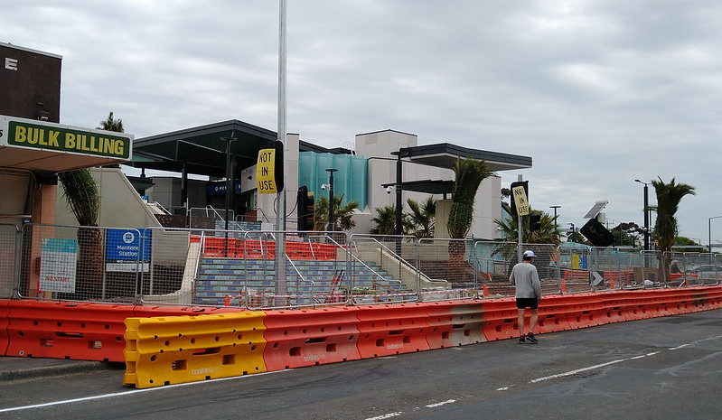 Mentone station entrance under construction