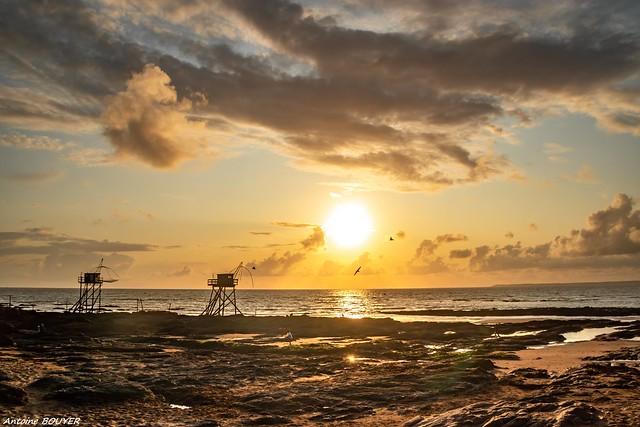Coucher de soleil à la plage de Tharon (44)